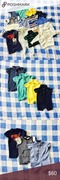 👶🏼 Polo Ralph Lauren 6m Boy Bundle 16 piece bundle. All very gently used with no stains/holes/etc unless noted: Blue striped sweater has very mild stain under chin area. Footed onsie also has very mild stain in same area. Navy and teal Onsies are terry cloth, the other navy and yellow one are cotton. Some of the items have my last name in sharpie on the tag. I am willing to separate out bundle if there are specific pieces you are interested in - just comment with the items you want and…