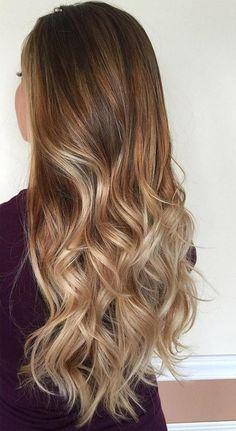 20 Ideas de color de cabello Balayage con reflejos marrones y rubios