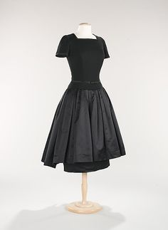 Mainbocher Dinner Dress ca. 1955 American, wool and leather