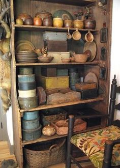 Cupboard with collection of primitive bowls, pantry boxes. Primitive Homes, Primitive Antiques, Primitive Country, Primitive Decor, Primitive Stitchery, Primitive Patterns, Prim Decor, Country Decor, Rustic Decor