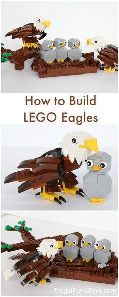 How to Build a LEGO Bald Eagle (with Eaglets).  LEGO building instructions.  This is adorable!