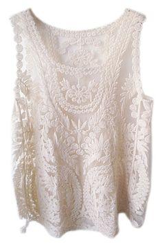 ROMWE | ROMWE Lace Crochet Sleeveless Cream Vest, The Latest Street Fashion