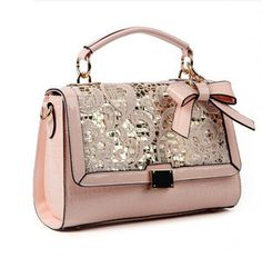 sweet pink cute lace bowknot paillette handbag bag