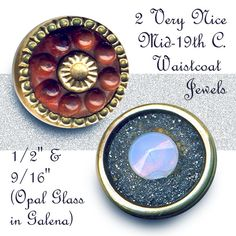 19th C. Opalescent Galena Waistcoat Jewel Buttons ~ R C Larner Buttons at eBay  http://stores.ebay.com/RC-LARNER-BUTTONS