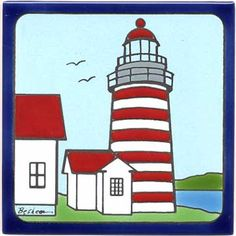 LIGHTHOUSE TILES, SEASHORE TILES, WALL PLAQUES WITH NAUTICAL DESIGNS