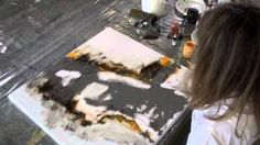 alcohal ink and acrylic abstract painting witty line - YouTube