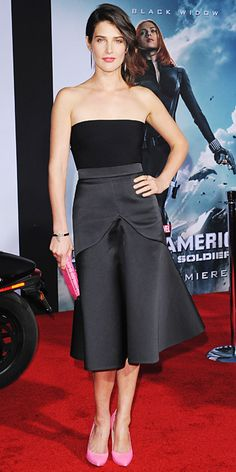 Cobie Smulders hit the Captain America: The Winter Soldier premiere in black Stella McCartney separates, injecting some shine with Joan Hornig icicle earrings, Rona Pfeiffer cuff, and rings by Dana Rebecca Designs and EF Collection, and color with a pink Zagliani clutch and pink Casadei pumps.