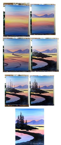 Peaceful Pines Process, step by step winding river beginner painting idea.