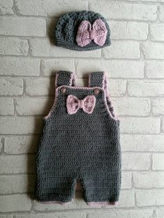 pink and grey baby crochet dungarees