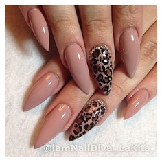 Nude and prints stiletto nails ❤ liked on Polyvore featuring beauty products and nail care