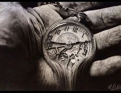 Hand and clock turning into sand pencil drawing