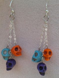 Skull Earrings for Halloween Or Day Of The Dead by DreamsByAna, $8.00