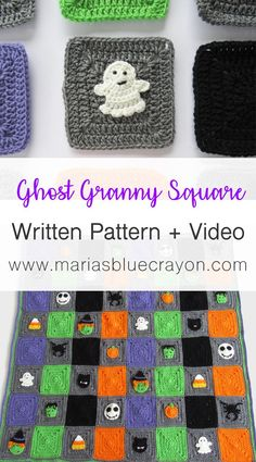 Halloween Ghost Granny Square Crochet Pattern Learn how to make this crochet ghost applique with this video tutorial along with the free written pattern. This ghost granny square is a part of the Halloween themed granny square blanket. Halloween Crochet Patterns, Granny Square Crochet Pattern, Crochet Squares, Crochet Blanket Patterns, Crochet Motif, Crochet Granny, Crochet Edgings, Crochet Cushions, Crochet Blocks