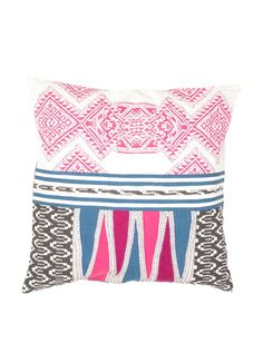 Traditions Made Pillow in Birch & Blue Sapphire design by Jaipur