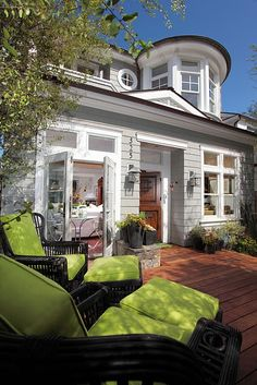 Small beach patio and side yard - - patio - los angeles - by Kelley & Company Home (beautiful exterior + chartreuse outdoor furnishing) Patio Design, Exterior Design, House Design, Gray Exterior, Gray Siding, Outdoor Spaces, Outdoor Living, Beach Patio, Polished Pebble