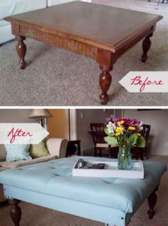 DIY Tufted Ottoman from a Coffee Table nice idea for when toddler of doom breaks a glass piece :/