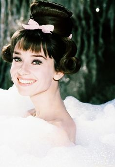 Audrey Hepburn. Sweet 16th hair style. Love it. Innocence is like a bubble bath...burst and pop your world.