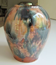 Brush McCoy Brown Onyx Arts and Crafts Vase Ovoid Marbled. $12.00, via Etsy.