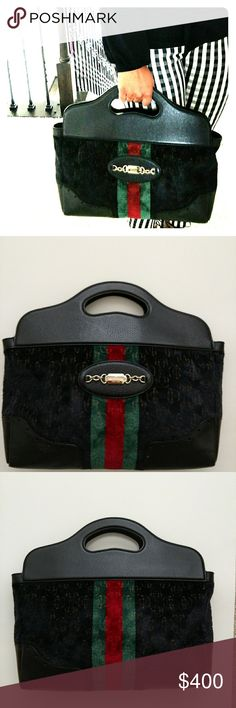 Black Authentic Gucci Tote Handbag Purse This rare authentic Gucci Tote handbag is beautiful! It is in fabulous condition, clean interior, handles in great condition. Comes with torn but still usable Gucci dust cover bag. The material is kind of like velvet and leather trim. Measurements coming...  FLAWS: corners show very light wear, one side has white mark but black polish will easily cover that. Gucci Bags Totes