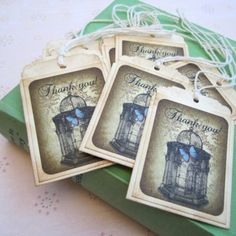 Vintage Inspired Butterfly Cage Thank You Handmade Favor Tags Embellishment - Set of 10 | adorebynat - Paper/Books on Ar