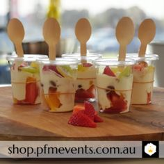 Fruit and Yoghurt Cup-Launches, Weddings, Events-PFM Events Group – PFM - Events & Catering Delicious Catering, Delicious Desserts, Fruit Kabobs, Fruit In Season, Logo Food, Wedding Catering, New Tricks, Vanilla, Events