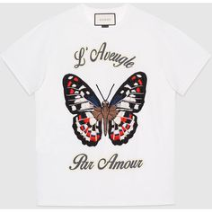 Gucci Butterfly embroidered cotton t-shirt (€790) ❤ liked on Polyvore featuring tops, t-shirts, gucci t shirt, butterfly top, gucci tops, embroidered top and gucci tee