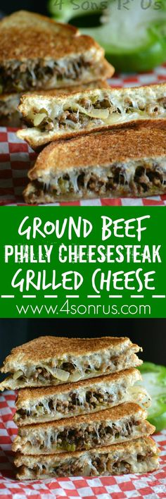 ground-beef-philly-cheesesteak-grilled-cheese-pin Grilled Cheese meets Philly Cheesesteak in this ultimate sandwich hybrid recipe. Ideas Sándwich, Queso Fundido, Ground Beef Recipes, Sirloin Recipes, Beef Sirloin, Sliced Beef Recipes, Grilled Hamburger Recipes, Beef Welington, Hamburger Dishes
