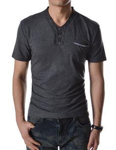 TheLees Slim Fit 2 Tone Point Botón V-cuello de manga corta Camisetas en la tienda de ropa de hombre Amazon: Moda T-shirt