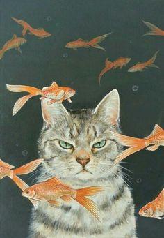 "Art Inspiration: Cute Grumpy Cat Acrylic Painting ""Goldfish & Cats"" By Ochiyopi. I Love Cats, Crazy Cats, Cute Cats, Animals And Pets, Baby Animals, Cute Animals, Funny Animals, Motifs Animal, Cat Drawing"