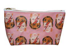 DAVID BOWIE makeup bag lil' purse... choose pink or blue background... original drawing