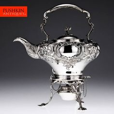 ANTIQUE 19thC VICTORIAN SOLID SILVER TEA KETTLE STAND & BURNER, LONDON c.1846