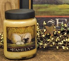 Sheep Family Jar Candle has the inviting aroma of Sweet Pear Crisp! Made in Ohio.