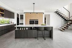 Modern timber kitchen design in polytec Bottega Oak and Prome Oak Woodmatt.