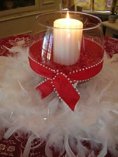 Feathers..ribbon..candles