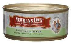 $32.17-$44.80 Newman's own organics turkey formula for cats, 5.5-ounce cans (pack of 24) contains certified organic vegetables and grains. The products do not contain antibiotics, hormones, chemical ingredients or artificial preservatives, colors, or additives. The pet food, like all of Newman's Own Organics' products, has been certified by Oregon Tilth. Paul and Nell Newman have chosen to donate ...