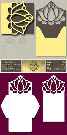 Lotus Lace Card & Envelope  SVG eps DXF PNG Cut by ScrapCobra