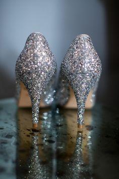 Silver Glitter Heels Shoes Bride Bridal Creative Crafty Luxe Glitter Gold Wedding http://www.katherineashdown.co.uk/