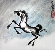 """Black Ice"" a rearing stallion in the snow. By Tracie Griffith Tso of Reston, Va. on display at the NIH Clinical Center through Sept. Animal Symbolism, Year Of The Horse, Painting Gallery, Lunar New, Chinese Painting, Silk Painting, Pottery, Ice, Snow"