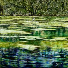 Heron Now Gone: Impressionist oil on canvas of Heron & Pond cloged with Weed by Roger Turner of Himley Hall & Baggeridge Country Park - South Staffordshire. Pond Weed, Heron, Art For Sale, Impressionist, Landscape Paintings, Oil On Canvas, Wildlife, In This Moment, Park