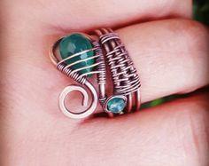 Einfache Draht gewickelt Azurit Ring/Draht von FromRONIKwithLove ...