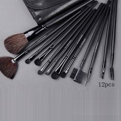 luxury mac 12 pieces brown brush set with brown pouch
