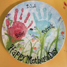 Mother's day plate with handprints flowers