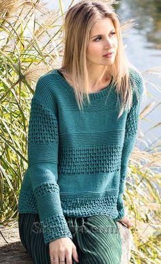 Иссиня-зеленый пуловер с сочетанием узоров