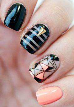 18 Chic Nail Designs for Short Nails Get Nails, Fancy Nails, Pretty Nails, Hair And Nails, Chic Nail Designs, Simple Nail Art Designs, Short Nail Designs, Cute Nail Art, Easy Nail Art