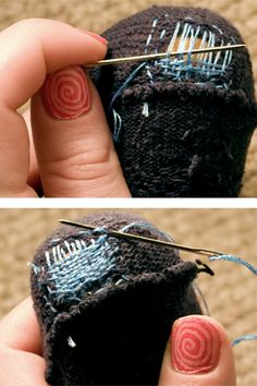 How to darn a sock! I learned to darn socks from my mother. We used to darn my father's socks all the time. I still have her darning egg. Sewing Hacks, Sewing Tutorials, Sewing Crafts, Sewing Projects, Sewing Patterns, Sewing Tips, Techniques Couture, Sewing Techniques, Couture Main