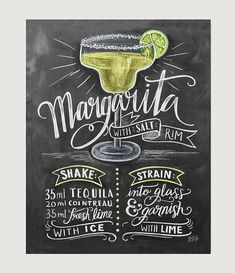 Margarita Recipe Print Cinco de Mayo Cocktail by LilyandVal