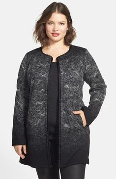 Eileen Fisher Collarless Wool Blend Jacket (Plus Size)