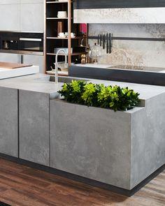Küche # Kitchen island in # concrete look with built-in flower box . # concrete look # flower box Beton Design, Concrete Design, Küchen Design, House Design, Design Ideas, Diy Kitchen, Kitchen Interior, Kitchen Decor, Kitchen Ideas