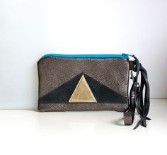 Leather Wristlet // Art Deco // Zipper Coin Pouch by gmaloudesigns, $29.99