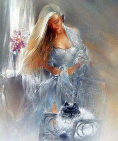 Illustrations, Illustration Art, Art Triste, Images D'art, Woman Painting, Belle Photo, Cat Art, Art Pictures, Photos